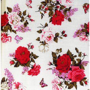 Ткань поплин принт цвет белый крупные цветы