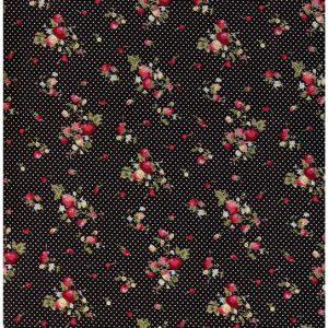 Ткань поплин принт цвет черный мелкие цветы