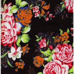 Ткань поплин принт цвет черный крупные цветы