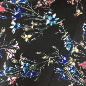 Ткань армани шелк «лилии на черном»
