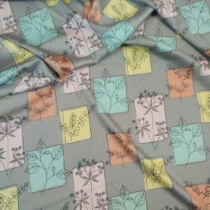 Ткань армани шелк «панно веточка» цвет серый
