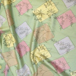 Ткань армани шелк «панно веточка» цвет зеленый