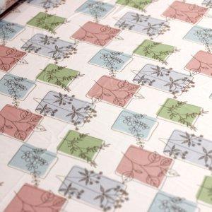 Швейная ткань армани шелк «панно веточка» цвет молочный