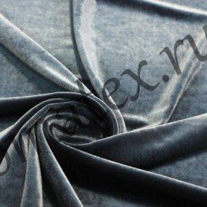 Ткань бархат стрейч цвет тёмно-серый