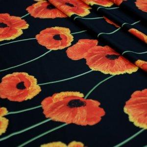 Швейная ткань барби принт маки цвет черный