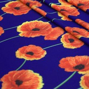 Ткань барби принт маки цвет синий