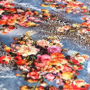 Ткань трикотаж леопард цвет индиго