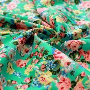 Ткань джинс «букет роза» бирюзовый
