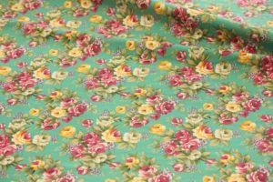 Ткань джинса стрейч букет цвет бирюзовый