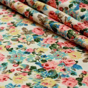 Ткань джинс «букет роза» цвет белый