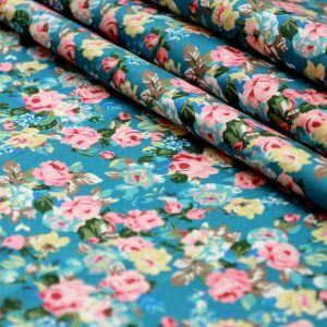 Ткань джинс «букет роза» голубой