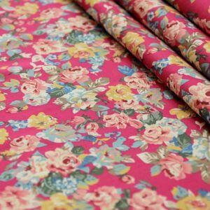 Ткань джинс «букет роза» цвет малиновый