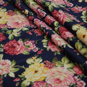 Ткань джинса стрейч пионы цвет темно-синий