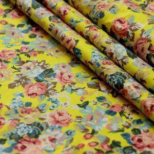 Ткань джинс «букет роза» жёлтый