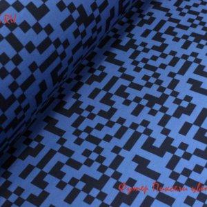Ткань футер пиксели индиго