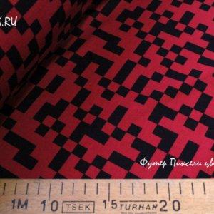 Ткань футер пиксели красный