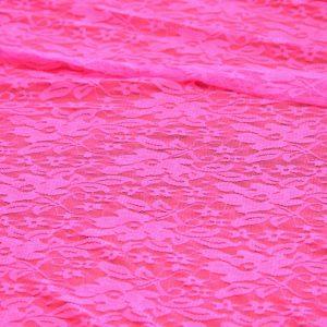 Гипюр стрейч «Цветы» цвет неон розовый