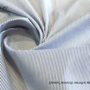 Ткань блузочная полоска цвет темно-синий