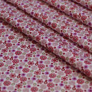 Ткань поплин букет d141 бело-красный