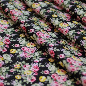 Швейная ткань поплин букет d156 цвет черный