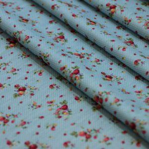 Ткань поплин букет d181 голубой