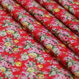 Ткань поплин букет d159 цвет красный