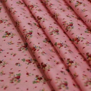 Ткань поплин букет d180 светло-розовый