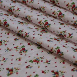 Ткань поплин букет d179 цвет белый