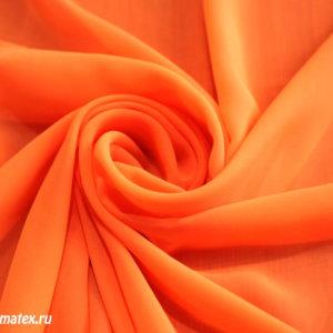 Ткань шифон однотонный цвет оранжевый
