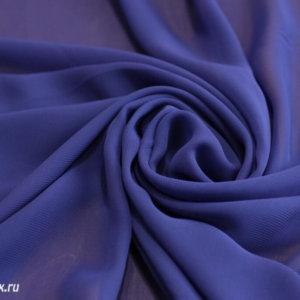 Ткань набивной шифон однотонный, темно-синий