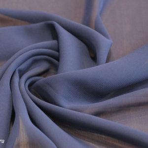 Ткань шифон однотонный цвет синий