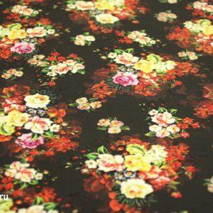 Ткань штапель принт «букет роза» d273 col-a цвет черный/белый