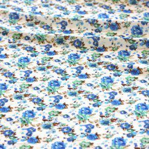 Ткань штапель цветок мелкий цвет бело-синий