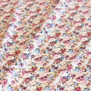 Ткань штапель цветок мелкий цвет бело-красный