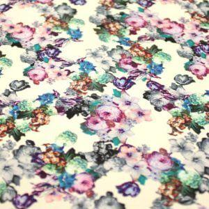 Ткань штапель принт «букет роза» d170 col-c цвет белый/фиолетовый