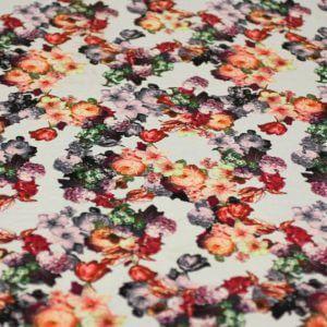 Ткань штапель принт «букет роза» d170 col-e белый/бордо