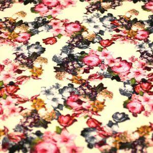 Ткань штапель принт «букет роза» d170 col-f белый/розовый