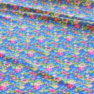 Ткань штапель цветок мелкий цвет васильковый
