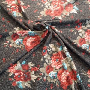 Ткань трикотаж снег букет розы цвет чёрный