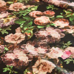 Ткань водолаз «букет сирени» цвет чёрный