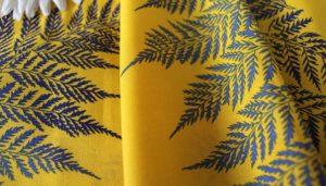 Ткань лен папоротник цвет желтый