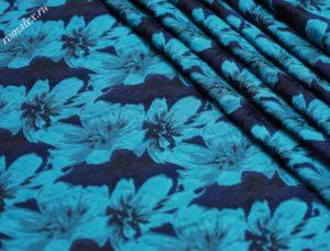 Ткань для пиджака жаккард тафта «азалия» цвет васильковый