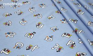 Ткань джинса микки светло-голубой