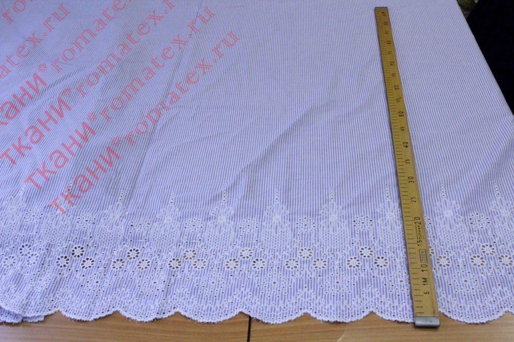 Ткань хлопок полоска вышивка купон, синий/белый