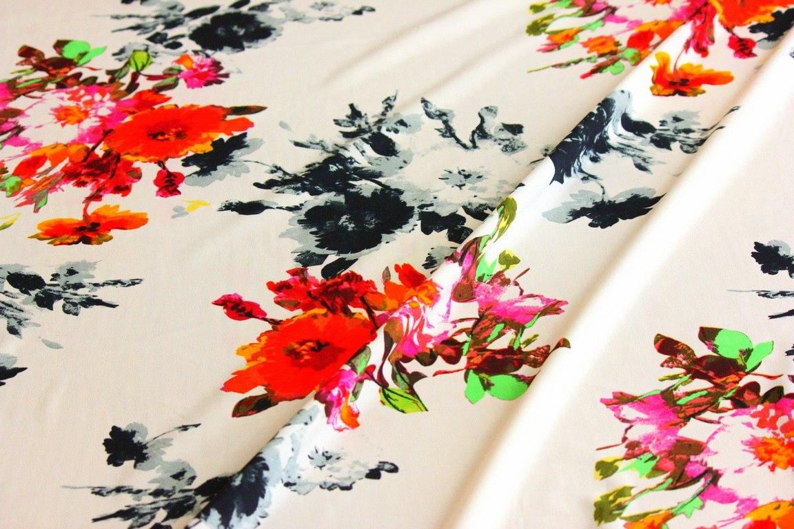 Ткань ткань блузочная «ненси пион»