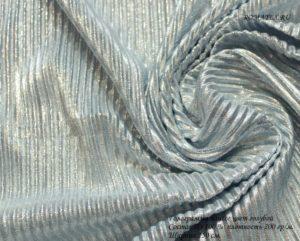 Ткань голограмма плиссе цвет голубой