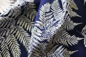 Ткань с хлопком лен папоротник цвет темно-синий