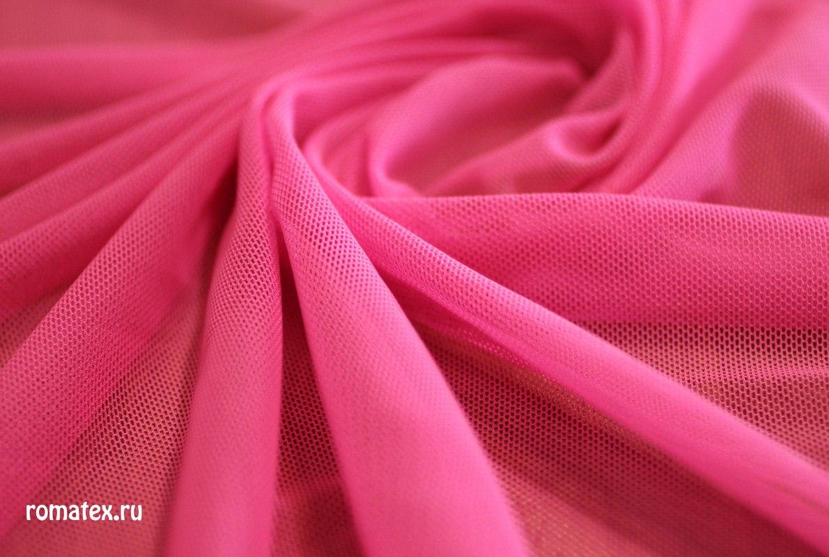 Ткань сетка трикотажная цвет розовый неон