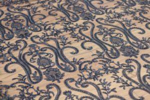 Ткань сетка вышивка с пайетками цвет чёрный