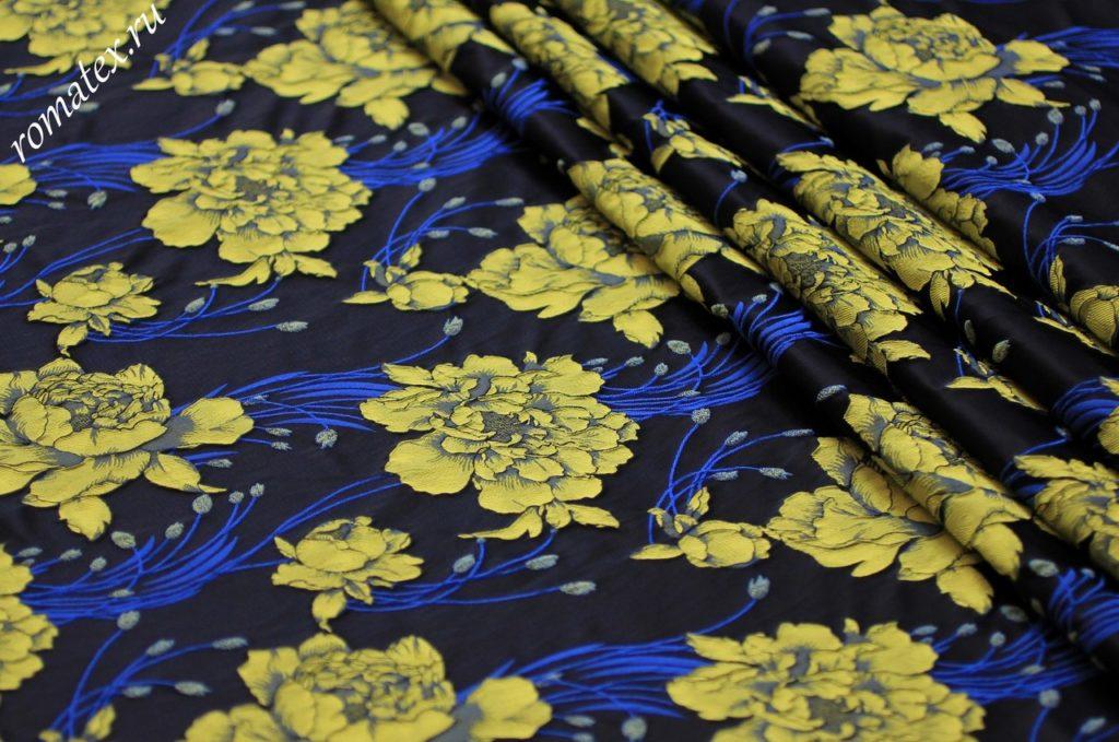 Ткань жаккард тафта  «китайская роза» цвет темно-синий желтые цветы